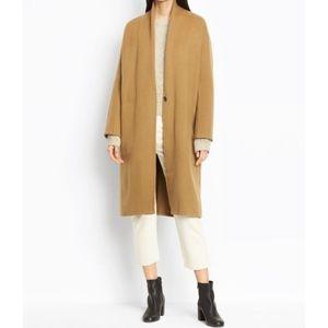 VINCE High Collar V-Neck Camel Wool Coat